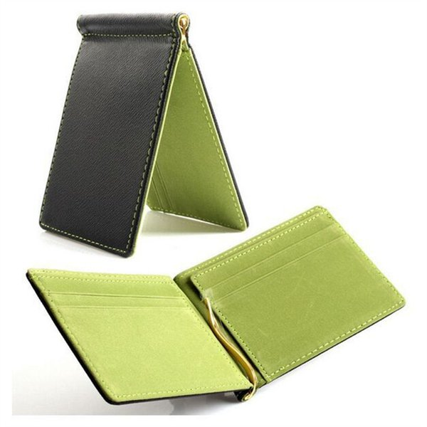 on book lamp Solid money clip short wallets men pu leather clamp dollar money cheap holder famous brand male wallet clip