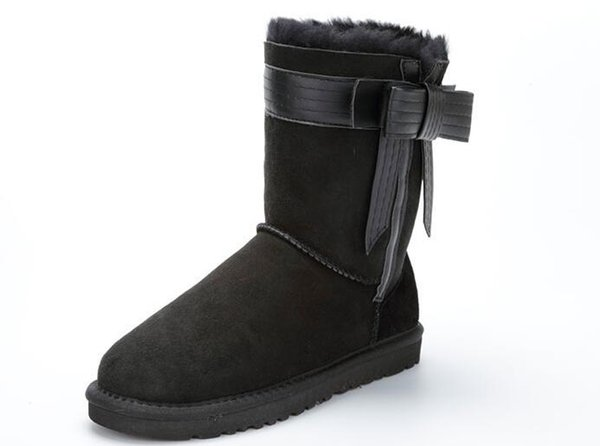 New Brand Women Winter Shoes Classic Snow Boots Warm Women Wool Shoes High Genuine Leather boots Size: 36-41