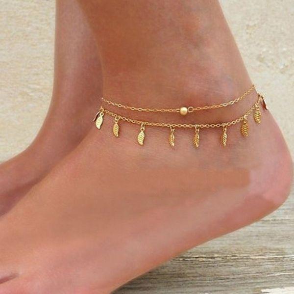 Newest Women Ankle Bracelet Chain Lady Barefoot Sandals Tassel Little Leaf Foot Chain Bohemian retro Pendant Alloy Anklets