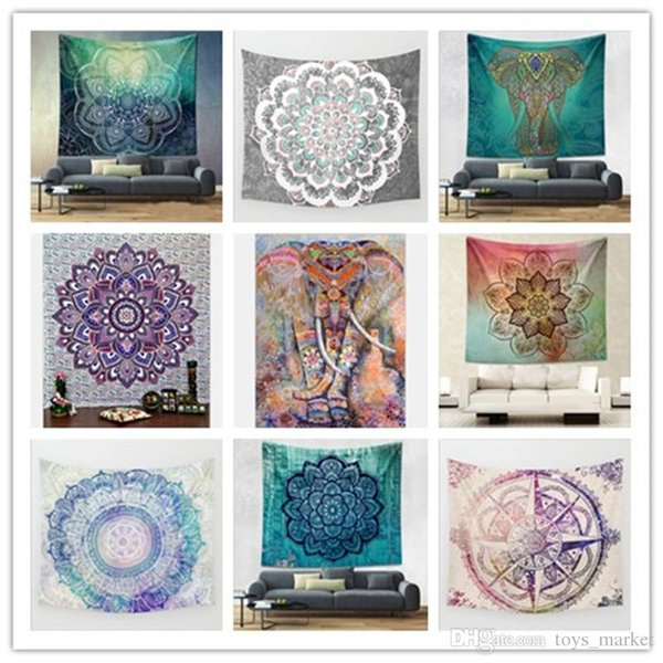 Mandala hippie tapisserie tapisserie murale éléphant de Bohême suspendu psychédélique Wall Art dortoir décor plage jeter indien tapisseries murales 150 * 130CM