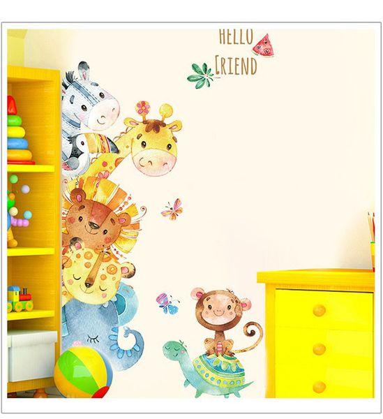 Bulk Lots Lovely 78*127cm HELLO FRIEND Wall Stickers Wallpaper Paper Peint 3d Home Decor Bathroom Kitchen Accessories Household Suppllies