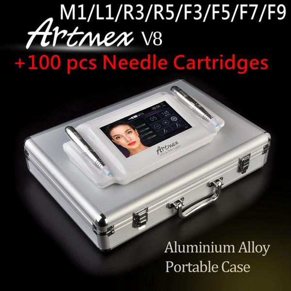 Newest Intelligent Cosmetic 2 in 1 Tattoo & Permanent Makeup Equipment Double Pen Digital micropigment Artmex V8 +100 pcs Needle Cartridges
