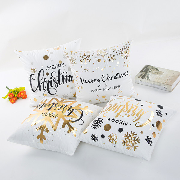 top popular 16 Styles Bronzing Christmas Pillow Case For Sofa Car Cushion Xmas letter print Pillow Cover Pillowslip Bedding 45*45cm C5486 2021