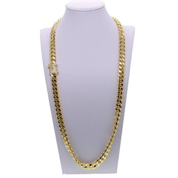 Hip hop cuban chain necklace with cz paved clasp for men jewelry with gold filled long chain cuban necklace mens jewelry