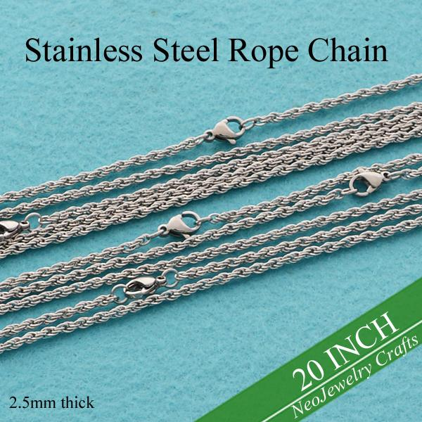 50 pcs - 20 inches Stainless Steel Rope Chain Necklace, 2.5mm Rope Chain, 50cm Stainless Steel Chain Necklace