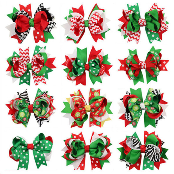 10pc Child Girl Bow Large Layered Boutique Spike Christmas Bows Hairpin Clip In Red Green Party Hair Accessary 1pc Bb030