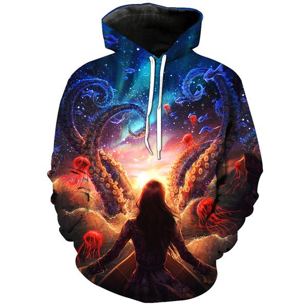 Neueste 3D Hoodies Sweatshirts Frauen / Männer Octopus Quallen Meer Welt 3D Druck Hoody Pullover Mode Tops H123