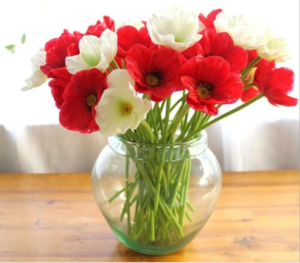 10 Mini Poppy Real Touch Pu Latex Artificial Flowers Wedding Bridal Bouquets Cheap Home Party Decoration Floral