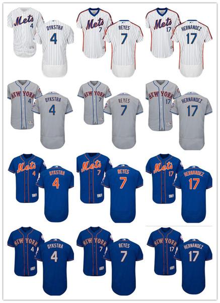 custom Men women youth Majestic NY Mets Jersey #4 Lenny # Dykstra 17 Keith Hernandez 7 Jose Reyes Home Blue Girls Kids Baseball Jerseys