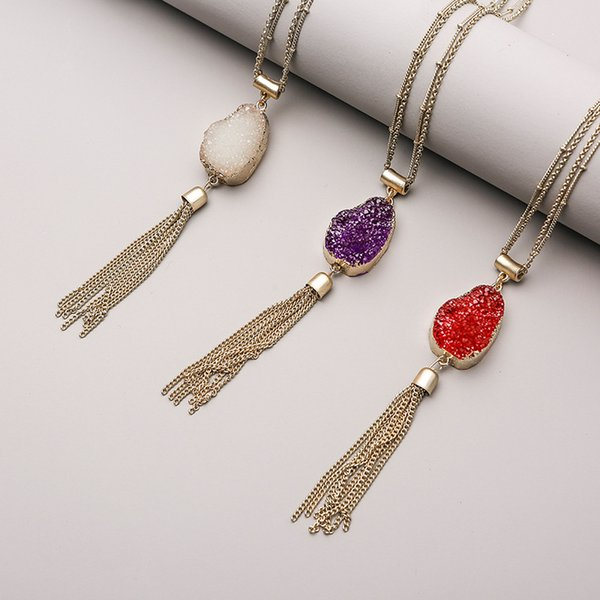 Europe United States Popular New Hot Sale Crystal Natural Stone Metal Chain Tassel Pendant Sweater Necklace Creative Female Women Jewelry