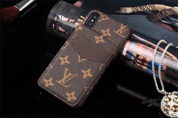 For iphone x x max xr 8 7 plu luxury de igner leather phone ca e for am ung 10 9 8 note8 9 brand with card holder hard back cover