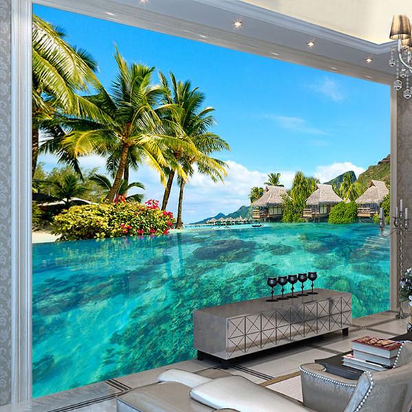 Özel 3D Fotoğraf Kağıdı HD Maldivler Deniz Plaj Doğal Manzara Fotoğrafçılığı Oturma Odası TV Arka Plan Duvar Boyama Duvar resmi