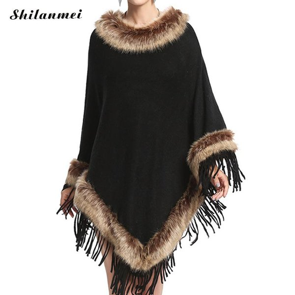 2018 Winter Tassel Poncho Vintage Faux Fur Collar Long Sleeve Bridal Wedding Dress Shawl Cape Artificial Fur Outwear Clothing