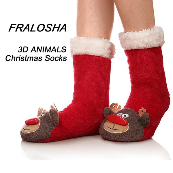 FRALOSHA Noel Çorap 3D hayvanlar Uzun kat Çorap Ev Terlik kadın Kış Sıcak Bulanık Anti-Skid Kaplı Kapalı Kat Terlik