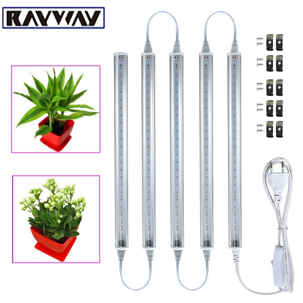 RAYWAY 5pcs 5W LED Grow Light Bar + Switch Cable 2835smd Led Groei Lampen Planta vegetal Luz hidropónica Tubo T5 Bombilla para acuario