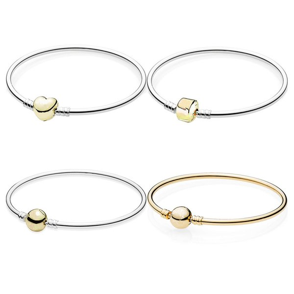 Gold Color Love Heart Barrel & Ball Clasp Smooth Bangle Fit Europe Snake Chain Bracelet 925 Sterling Silver Bead Charm Jewelry
