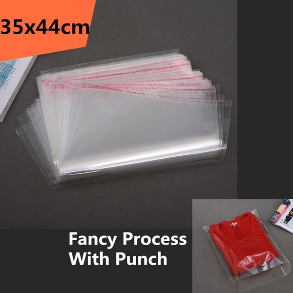 100pcs 35*44cm Clear Transparent Self Adhesive Resealable Opp Poly Cellophane Clothing Quilt Blanket Bags Packing Plastic Bag