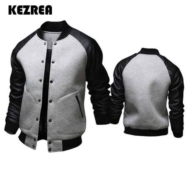 KEZREA 2018 FASHION Giacca da baseball Uomo Fashion Design Nero Pu Leather Sleeve Uomo Slim Fit Varsity Jacket Marca Veste Homme