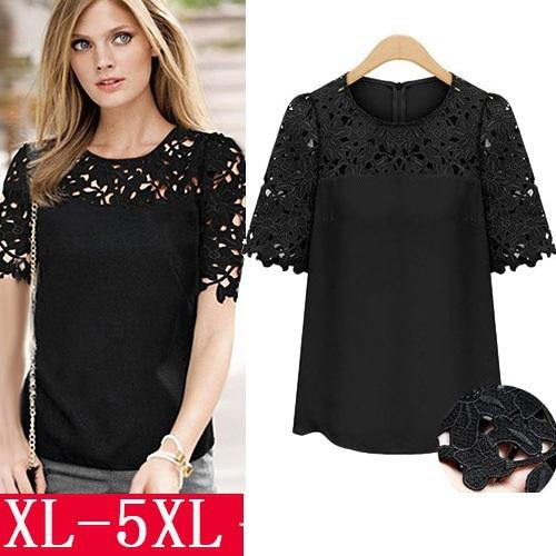 a80e785e623 Summer 2018 women shirts chiffon blouses fashion tops plus size round neck  short-sleeved lace camisa blusas femininas clothes