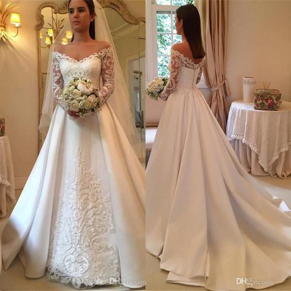 compre vestidos de novia elegantes con hombros descubiertos