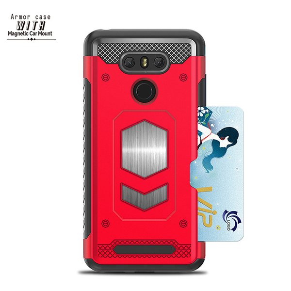 For LG G6 G7 Q6 Q8 V30 Hybrid Armor Card Slot Case TPU Silicone Shockproof Car Holder Magnetic Phone Back Cover