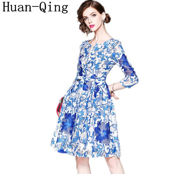 wholesale Office Lady Sexy Tunic Slim Ball Gown Dress Summer Runway Women Blue and White Porcelain Print Elegant Party Dresses