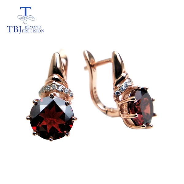 TBJ,natural red garnet round 8.0mm shape design earring rose color in 925 sterling silver gemstone jewelry,simple design earring