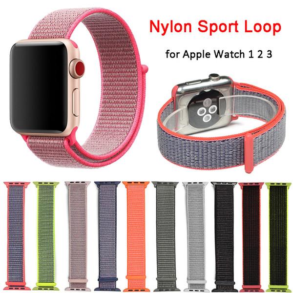 Banda de reemplazo de bucle deportivo de nylon para Apple Watch Serie iWatch 1 2 3 Ligero transpirable suave tejido Braclet correa correa 38 mm 42 mm
