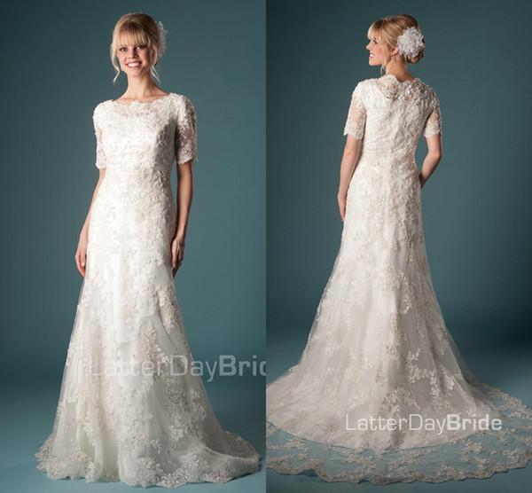 compre vestidos de novia modestos de sirena de encaje vintage de los