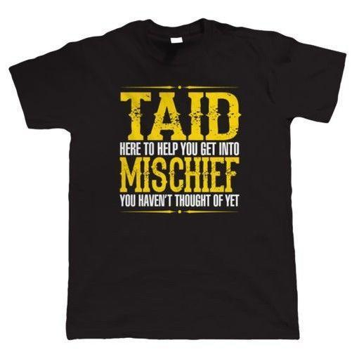 Taid Mischief Mens Funny T Shirt - Regalo para Grandad Birthday Fathers Day