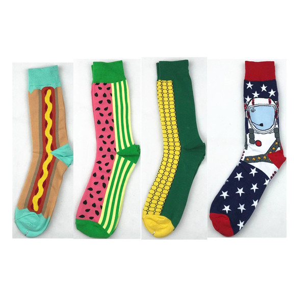 British Style Happy Socks Men Pure Whole Cotton Medium Stocking Cartoon Watermelon Corn Male Elasticity Sports Sock 3cg Ww