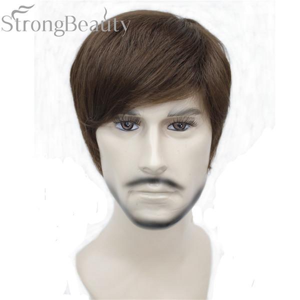 Güçlü Güzellik Sentetik Düz Saç Erkek Kısa Yan Kısmı Siyah / Kahverengi Cosplay Erkek / Kadın Peruk