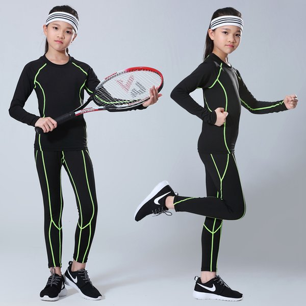 Children Boys compression base layer running pants shirts sets football women girls soccer training pant skinny tights leggings