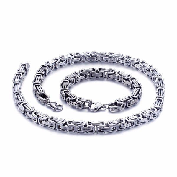 5mm/6mm/8mm wide Silver Stainless Steel King Byzantine Chain Necklace Bracelet Mens Jewelry Handmade
