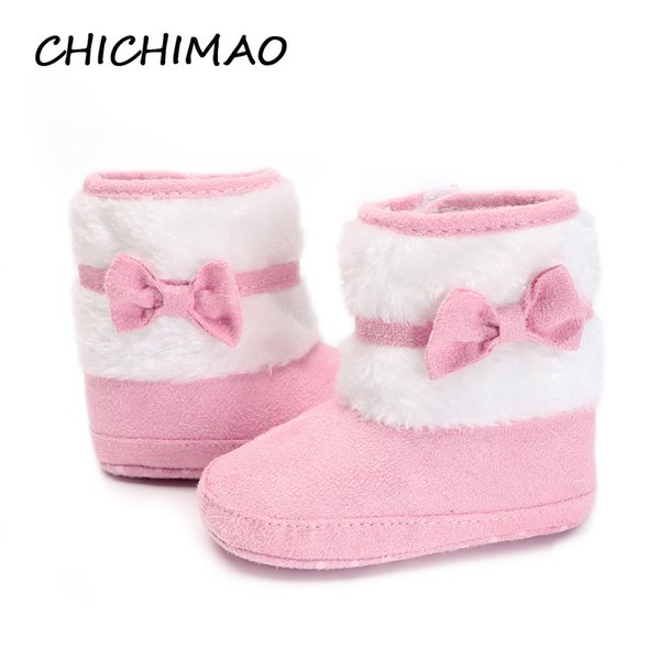 New Born Baby Girls Booties Cute Little Butterfly-knot Winter Warm Cotton Fleece Man-made Anti-slip Sole Solid Crib Shoes