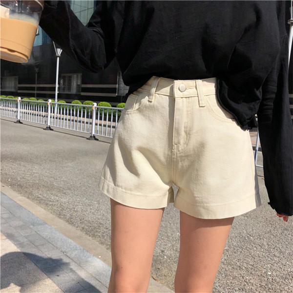 2018 Sommer neue Frauen Einfache und vielseitige lose hohe Taille Slim Denim-Shorts