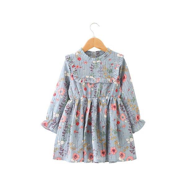 2018 niñas del vestido del bebé del otoño plisado medio-Turtleneck hoja de loto vestido de gasa de manga larga suelta vestido impreso floral H076