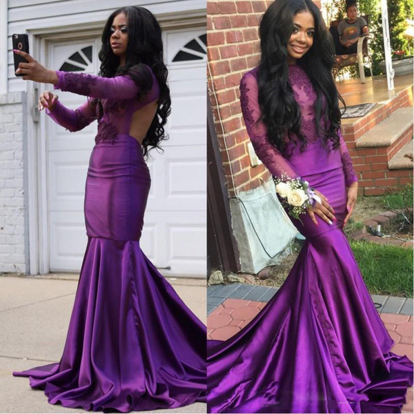 Purple Long Sleeves Cut Away Side Prom Dresses Backless High Neck Mermaid African Black Girl Evening Gowns Long Dress