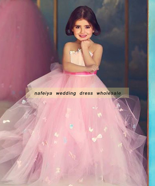 Said Mhamad 2018 Mother and Daughter Pink Ball Gown Flowers Girls Dress Pageant Dresses for Teens Cheap Gowns Vintage for Weddings