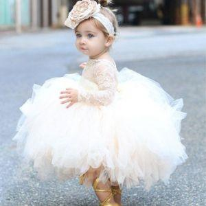 Hippie Toddler country flower girl dresses Puffy Ball Gown Top Lace Sleeves Tulle Ruffles Tutu first holy communion Open Back Cupcake Skirt