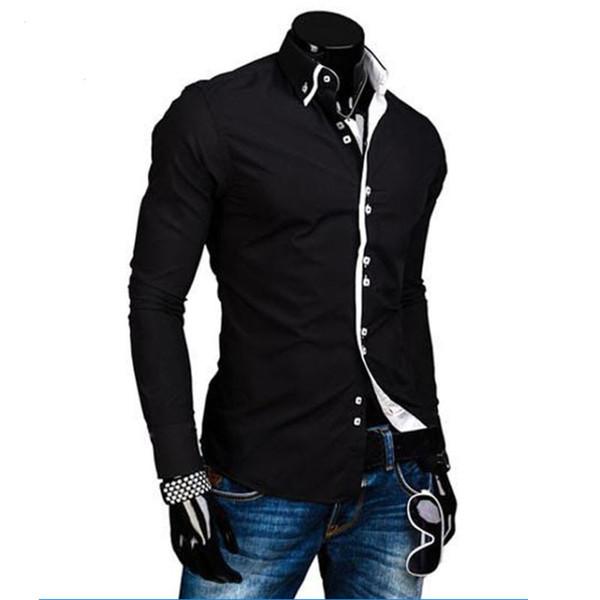 Men Shirt Luxury Male Long Sleeve Shirts Casual Solid Multi-Button Hit Color Slim Fit Dress Shirts Mens Hawaiian XXXL