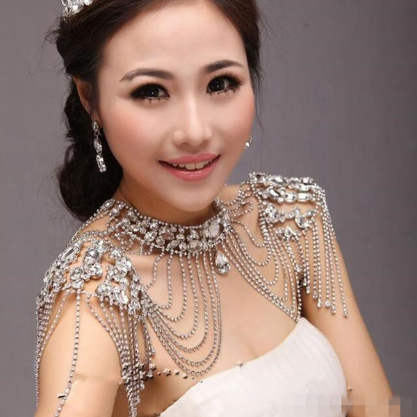 Wedding Shawl Bridal Wraps & Jackets 2017 Hot Sale Free Shipping Luxury Sexy Beatiful Rhinestone Crystal Bride Shoulder Chain Jewelry Jacket