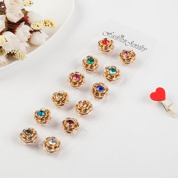 2017 Classic 6 colori vintage fix pin Elegante cristallo oro forte magnete spilla hijab accessorio fibbia sciarpa musulmana, perni hijab