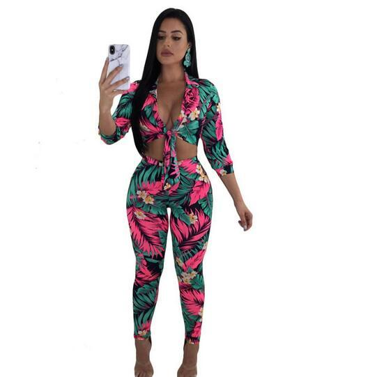 Plus Size Two Piece Set Women 2018 New Summer Outfit Floral Tops+Bodycon Pants Sweat Suit Sexy 2 Piece Casual Tracksuit WF245