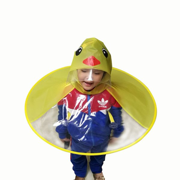 Childrens Duck Raincoat UFO Raincoat Children Umbrella Cartoon Cloak for Kids Duck Raincoat,M