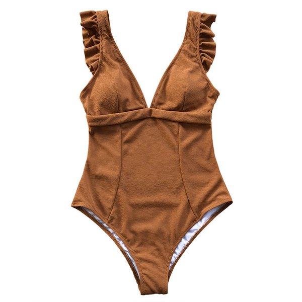 Caramel Ruffles One-piece Swimsuit Women Deep V-neck Soild Bodysuits Swimwear 2018 Girl Beach Sexy Monokinis Swimsuits