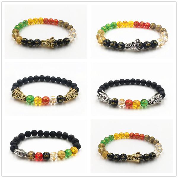Neue Stil Versilbert Doppel Drachenkopf Mit Matt Onyx Schwarz Naturstein Sakyamuni Buddha Perlen Armband Gebet Buddha Perlen Armband