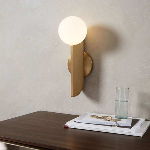 Modern milk white glass ball Wall Lamp mirror front corridor aisle gold-plated Wall Light decor Home Lighing Wall Sconces G779