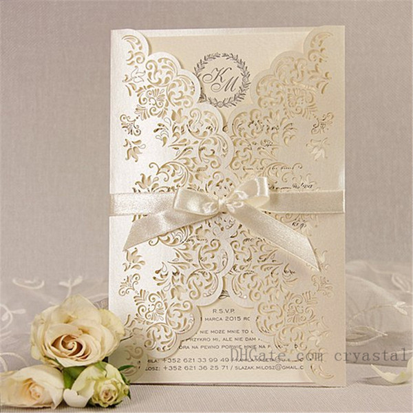 top popular Intricate Lace Beige Laser Cut Day Gatefold Wedding Invitation Handmade Personalized With Ribbon And Envelopes 2021
