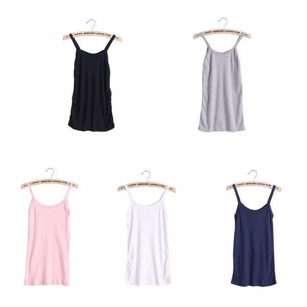 Mujeres Stretchy Camisole Spaghei Strap Long Tank Top Slip Mini Dress 4Color TAMAÑO XXL está disponible ahora